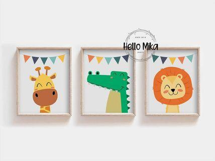 Set of 3 Party Safari Animal Posters