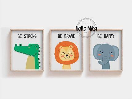 Set of 3 Quotes Safari Animal Poster