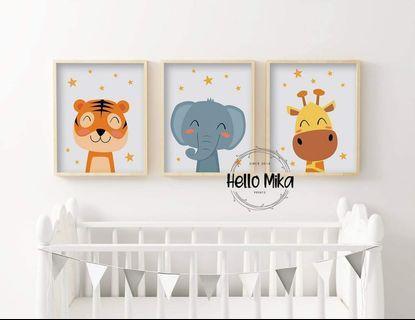 Set of 3 Starry Star Safari Animal Poster