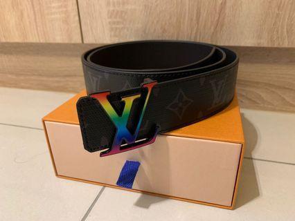 Lv 最新款 彩色logo 黑花皮帶 100公分 MP130S 專櫃全新正品