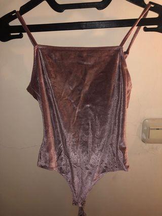 Pink suede bodysuit