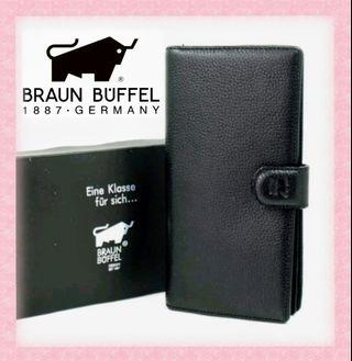 "(stock 24Aug~3 pcs)Braun Buffel ""embossed bull"" unisex long wallet with clasp"