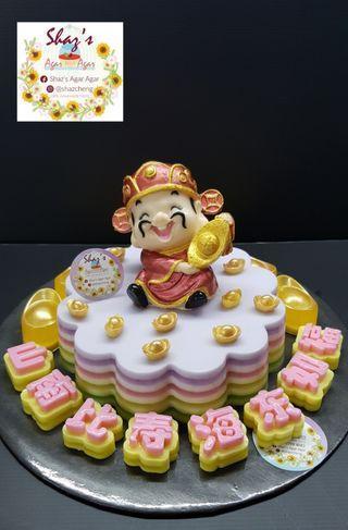 Caishen with Longevity Theme Agar Agar Birthday Cake