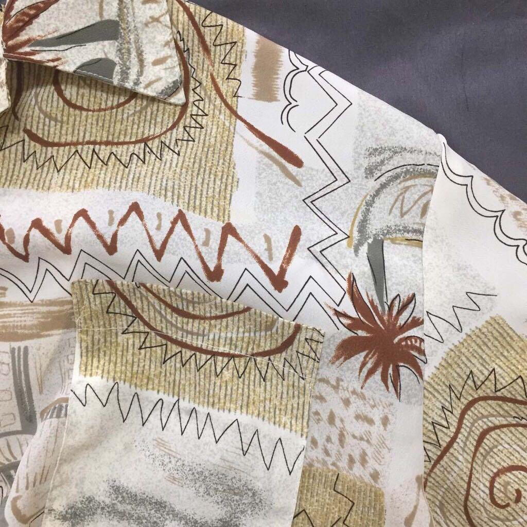 花襯衫✔古著×短袖×精細扣子×咖啡色系