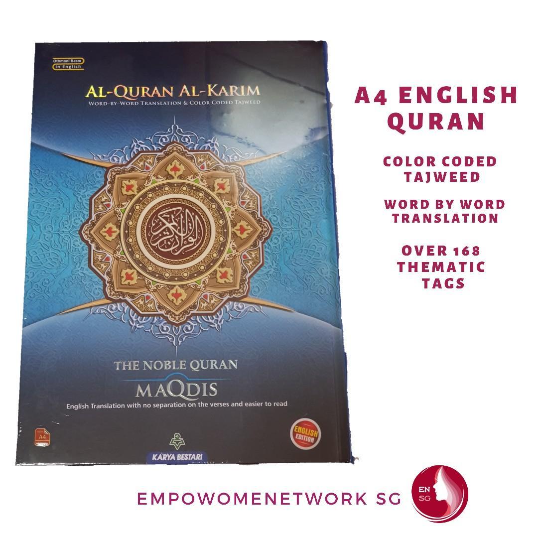 A4 English Al quran Tagged, Books & Stationery, Fiction on