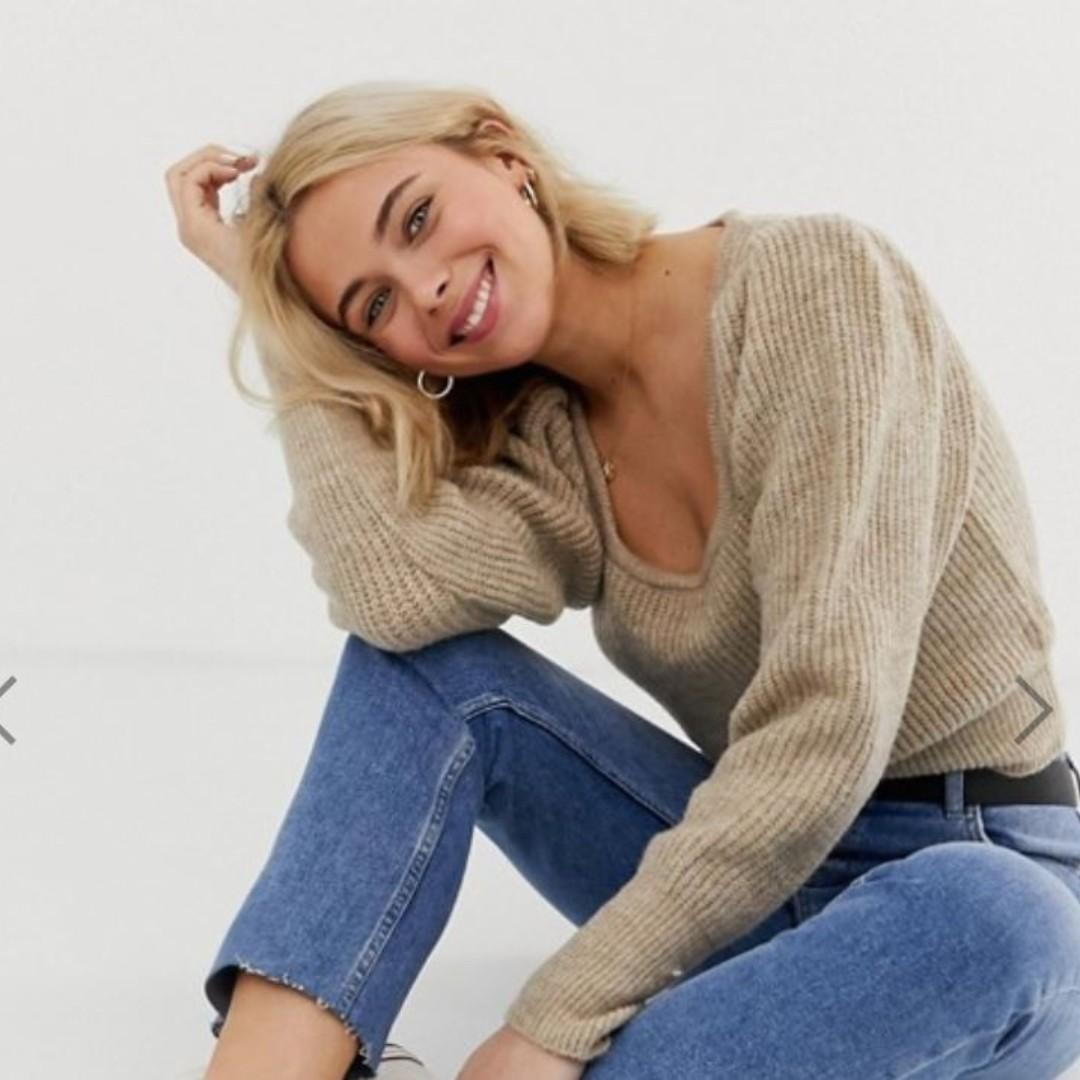 ASOS DESIGN chunky scoop neck jumper with full sleeve (Size 12)