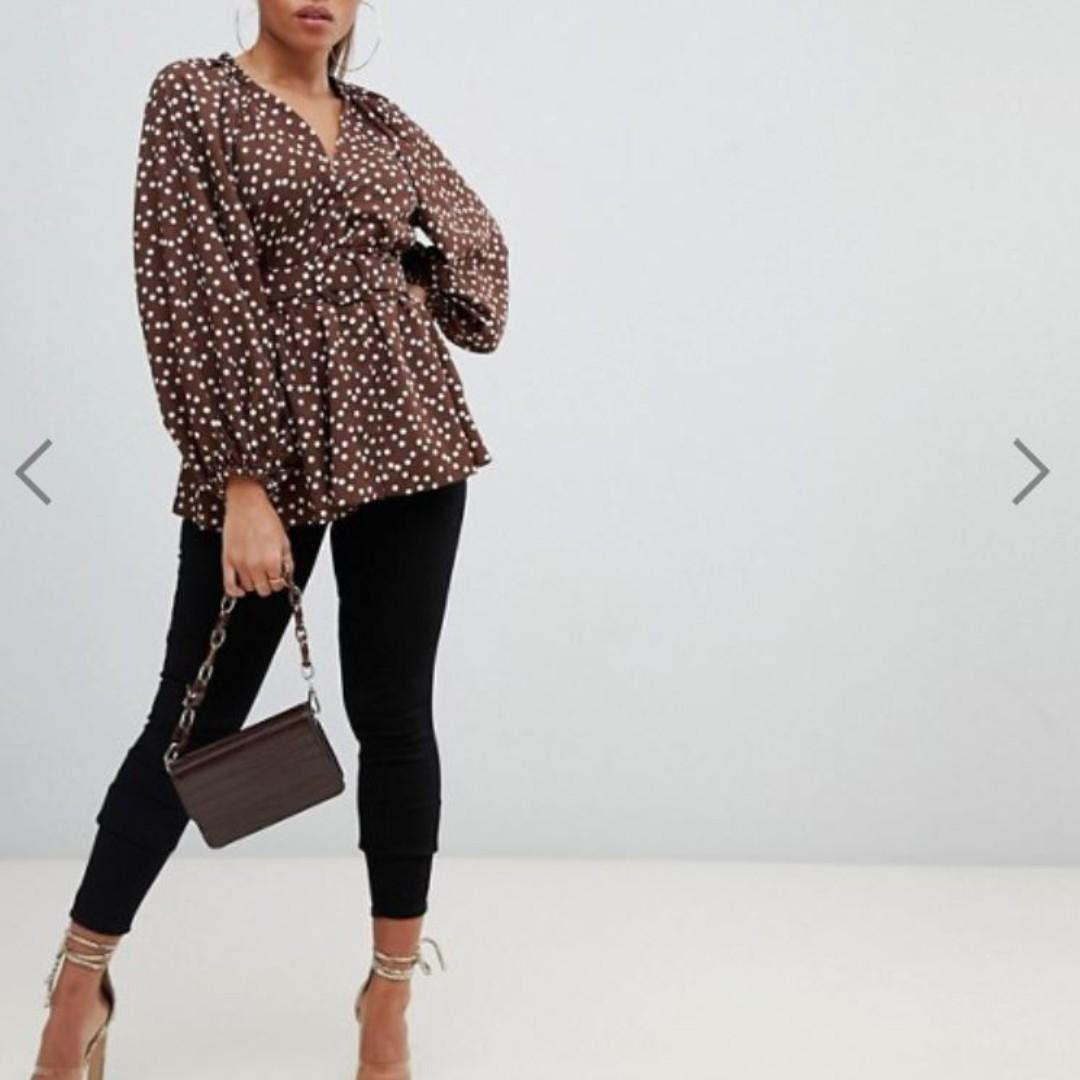 ASOS DESIGN  long sleeve plunge top with kimono sleeve and belt in spot print (Size 12)