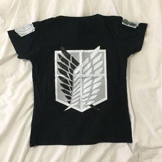 ⚔️ Attack On Titan (Shingeki No Kyojin) Black T-shirt w/ Survey Corps Logo