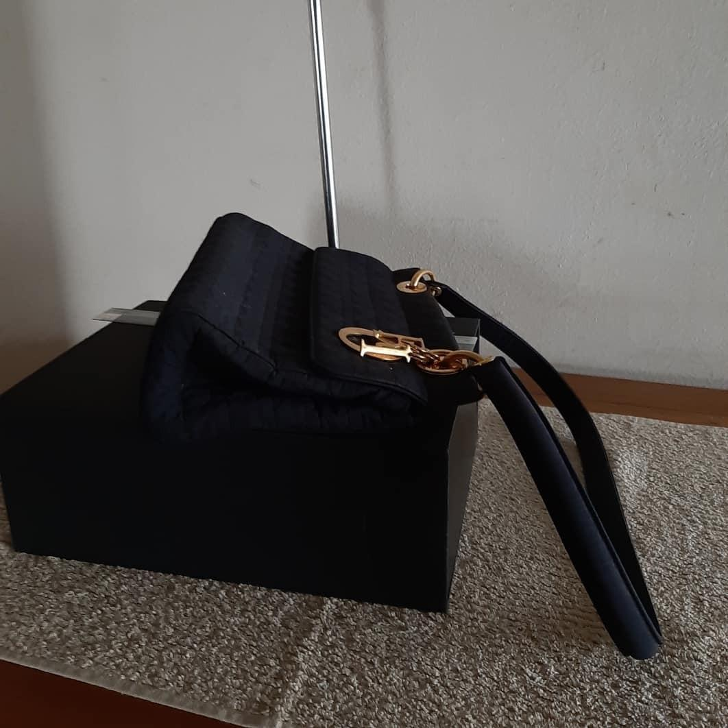 AUTHENTIC DIOR, LADY DIOR SHOULDER BAG - CAN CROSSBODY FOR PETIT LADIES - BLACK SUEDE MICROFIBER- GOLD HARDWARE- CLEAN INTERIOR - DIOR CHARMS INTACT- (LADY DIOR BAGS NOW RETAIL OVER RM 17,000+)
