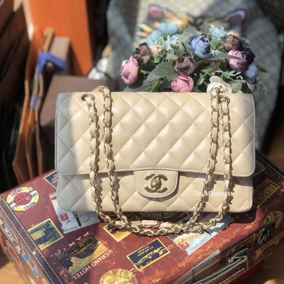 Authentic Pre-loved Chanel Medium Beige Caviar Leather GHW Double Flap