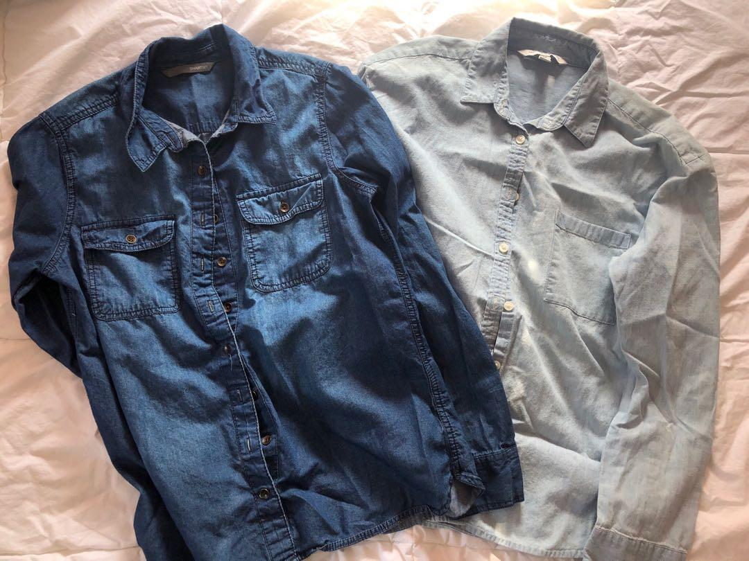 Denim button up tops - American Eagle and Smart Set