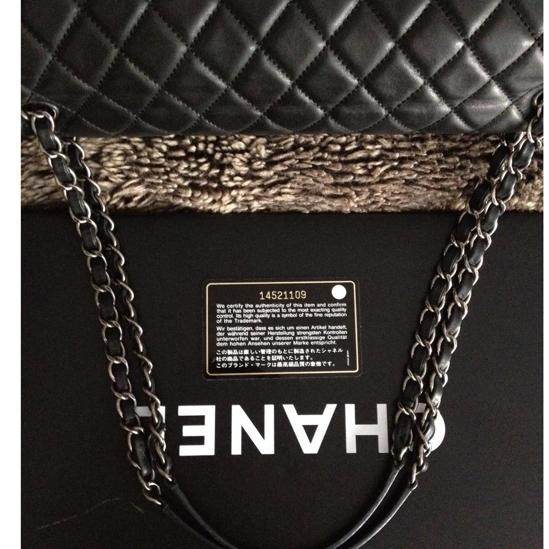 FULL SET CHANEL Black Quilted Distressed Leather Ruthenium Chain Jumbo Flap Bag