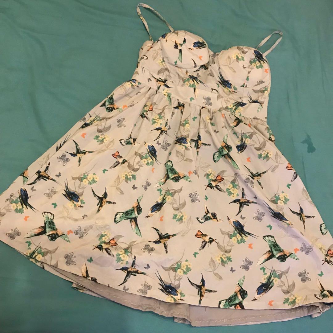 Ice Australian native birds themed padded mini dress