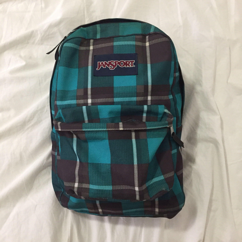 ✨Jansport superbreak backpack/bag (blue & brown plaid)