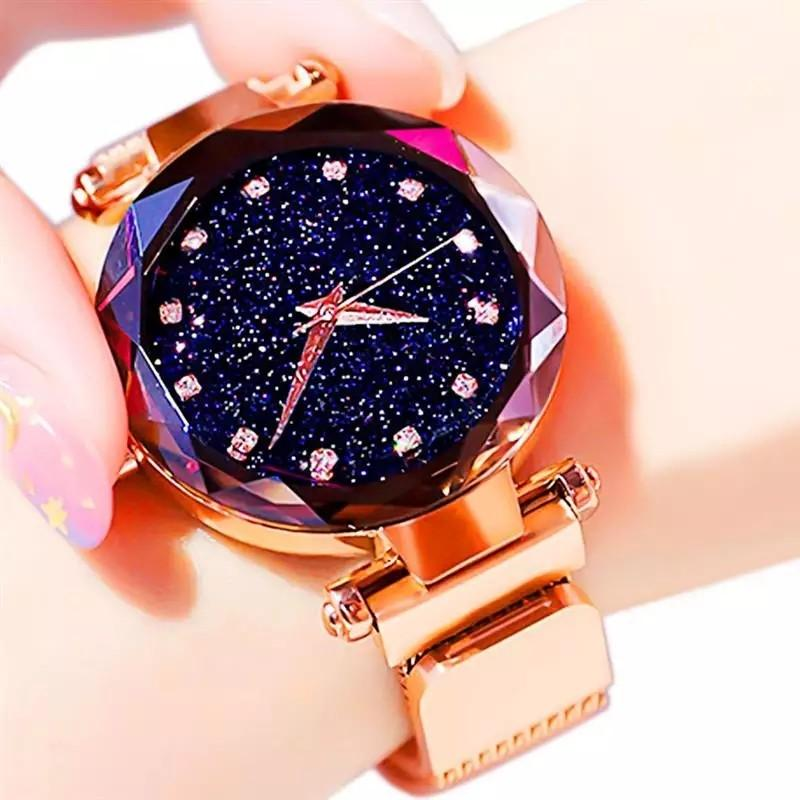 Luxury Starry Sky Women Watches Rose Gold Bracelet Magnet Mesh Band Rhinestones Quartz Wristwatch Ladies Female Diamond Watch
