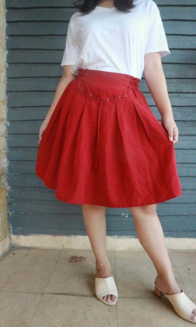 Maroon Red Flare Skirt