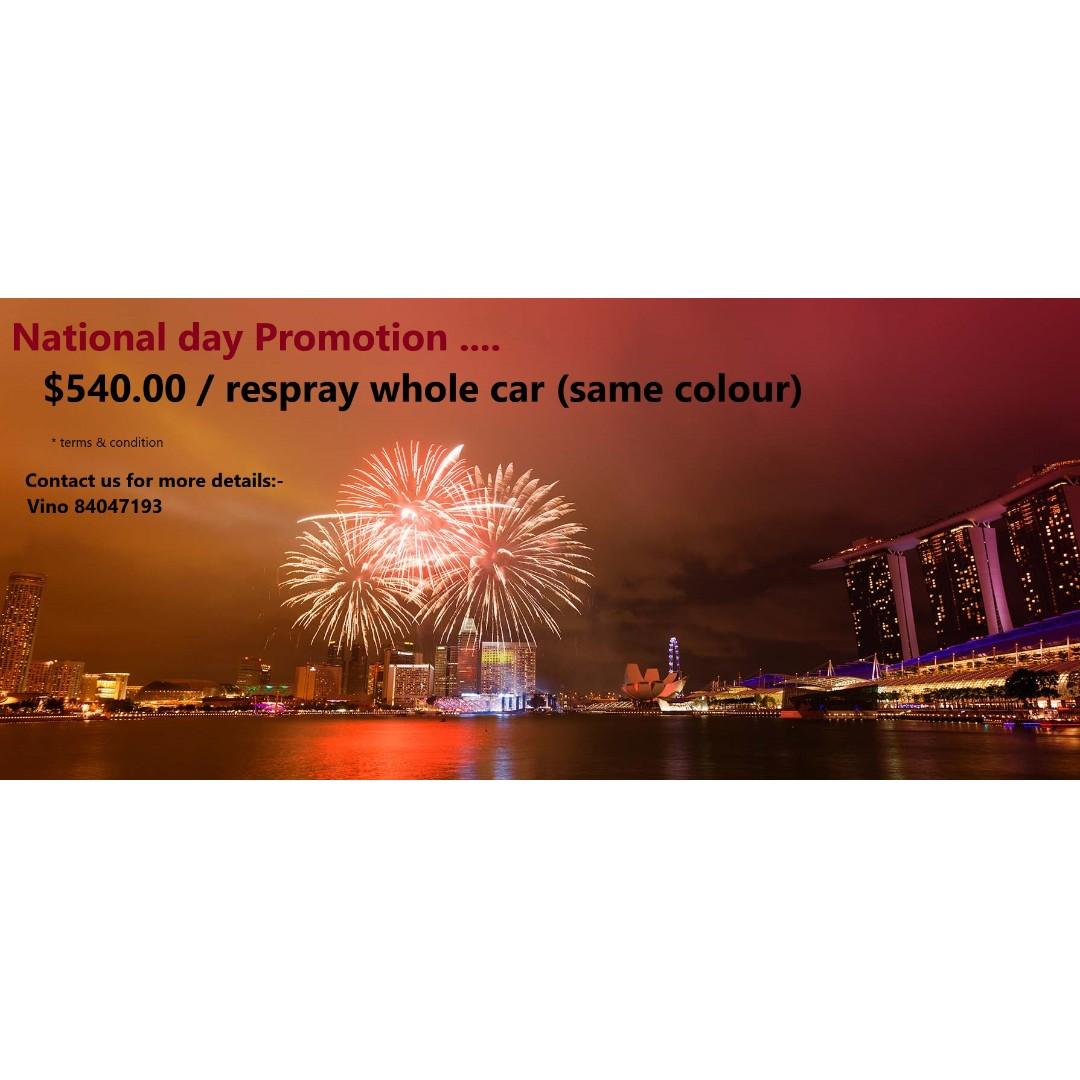 $540 RESPRAY WHOLE CAR... National day promo..... Limited slots only...