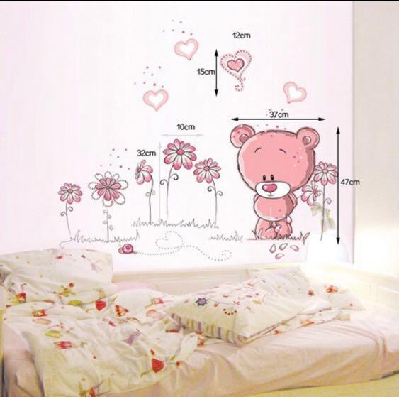 Preorder Pink Bear Kitten Seashell Wall Sticker