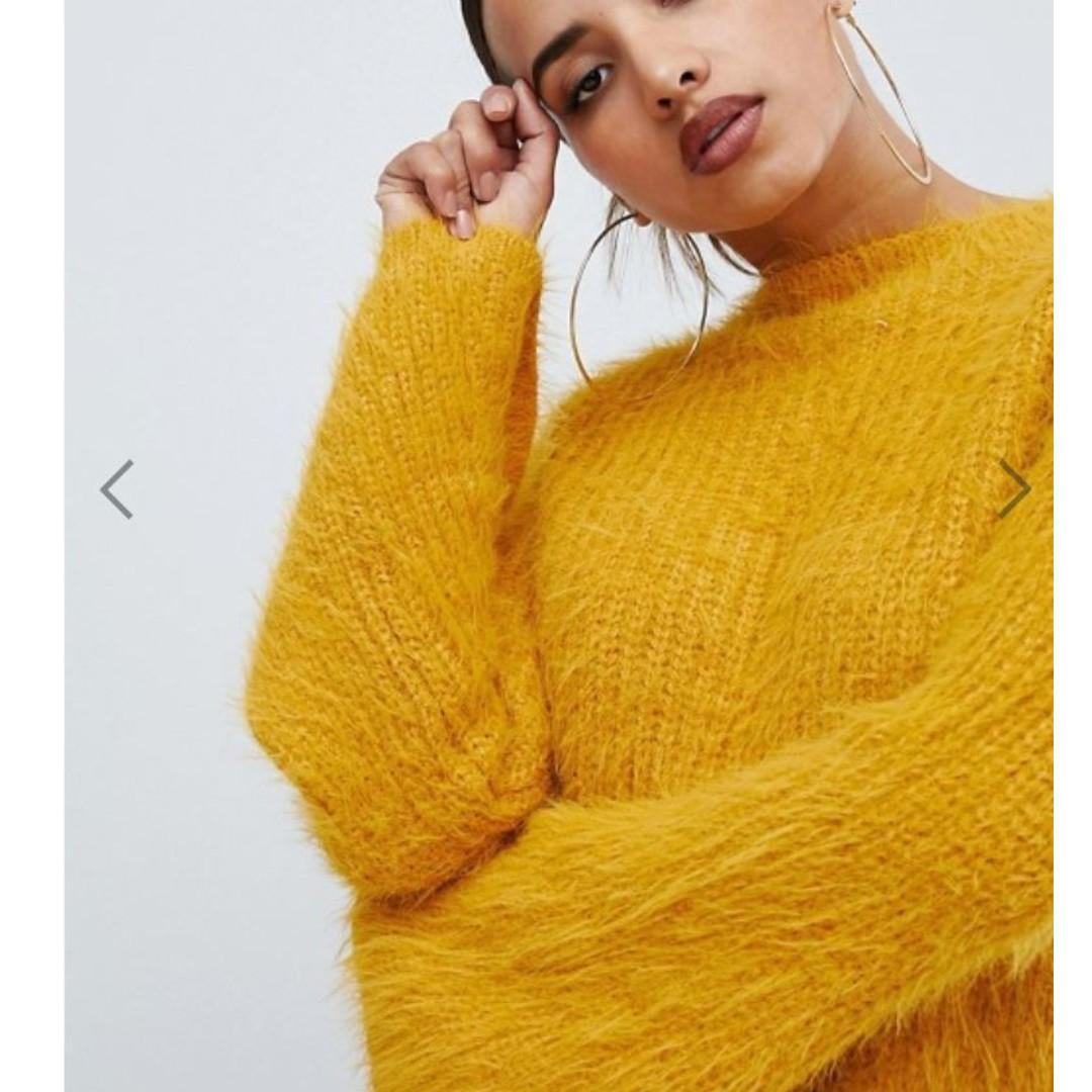 PrettyLittleThing flared sleeve fluffy jumper in yellow (Large)