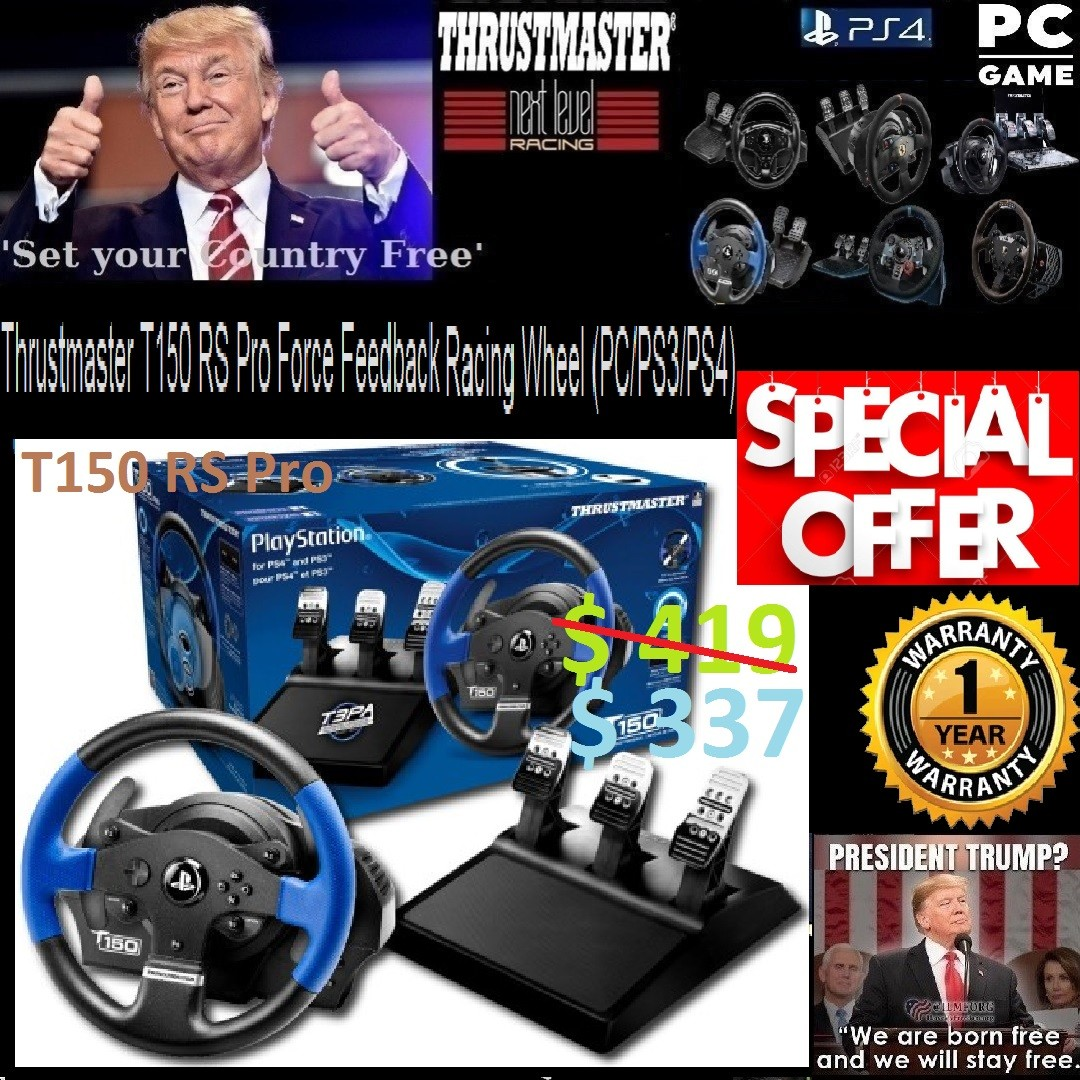 PS4 Thrustmaster T150 RS Pro Force Feedback Racing Wheel (PC/PS3/PS4) 1  Year Warranty  , or Walk in Tonite for better Offer Rate  , (# Sales Offer