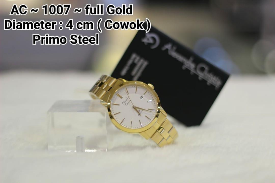 Real pict@ALEXANDRE CHRISTIE Watch Primo Steel #cL  IDR 750K NET ~ full Silver ~   IDR 840K NET ~ full Gold ~   Diameter : 3 cm ( Cewek ) Diameter : 4 cm ( Cowok ) Material : ALL Stainless Steel  GARANSI MESIN 1 Tahun INTERNATIONAL