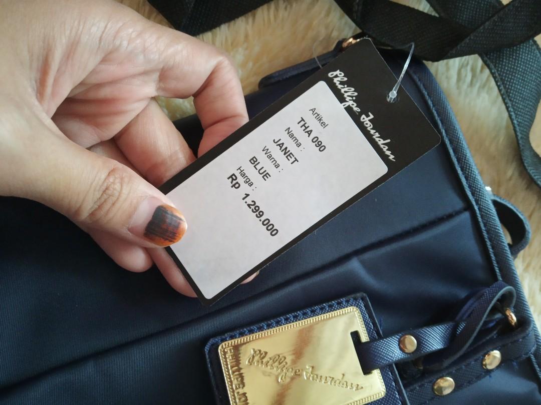 Sale tas wanita phillipe jourdan navy bagus murah Limited eddition