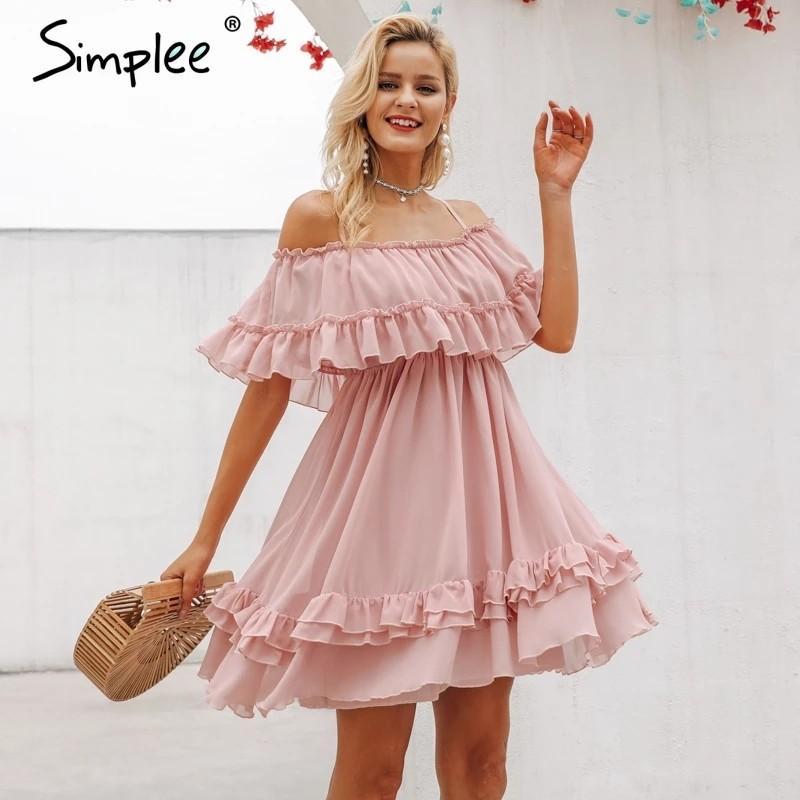 Simplee Elegant ruffle off shoulder women dress Spaghetti strap chiffon summer dresses Casual holiday female pink short sundress