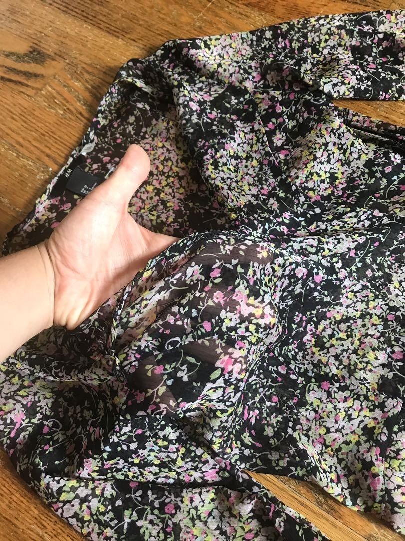Size 2, See-through floral dress, H&M, knee length
