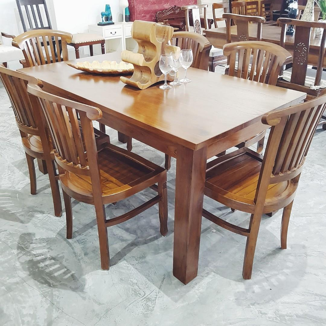 Solid Teak Wood Solid Teak Dining Table Set With 6 Chairs Furniture Tables Chairs On Carousell
