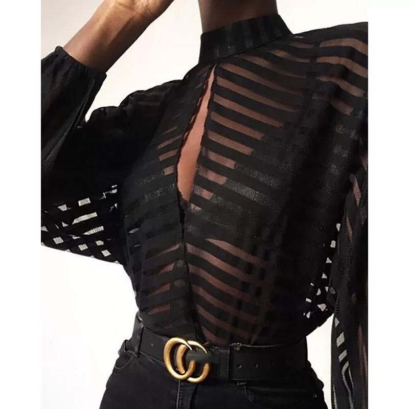 Stripes Keyhole Front Mesh Blouse Women See Through Hollow Out Womens Tops and Blouses Sexy Party Top blusas mujer de moda 2019