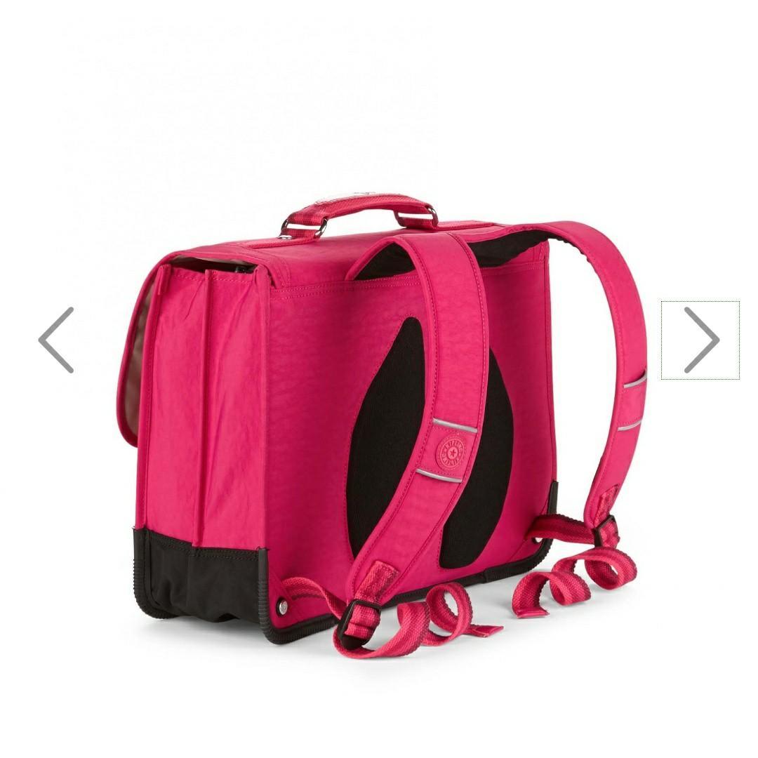 "Tas ransel kipling back to school, preppy cherry pink, muat laptop 14"" and include fluro rain cover."