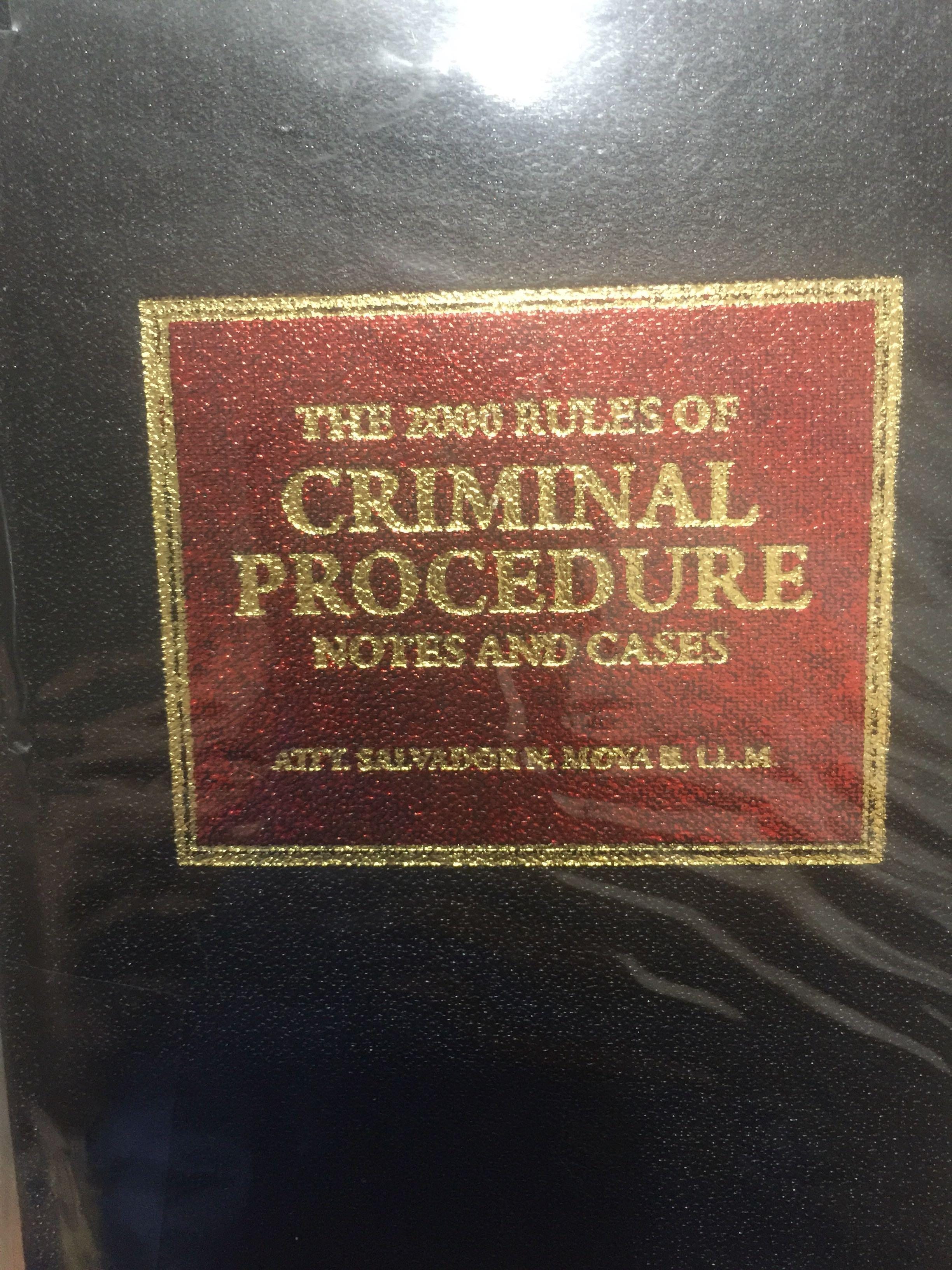 The 2000 rules of criminal procedure notes and cases by: atty.  Salvador Moya 2017 edition