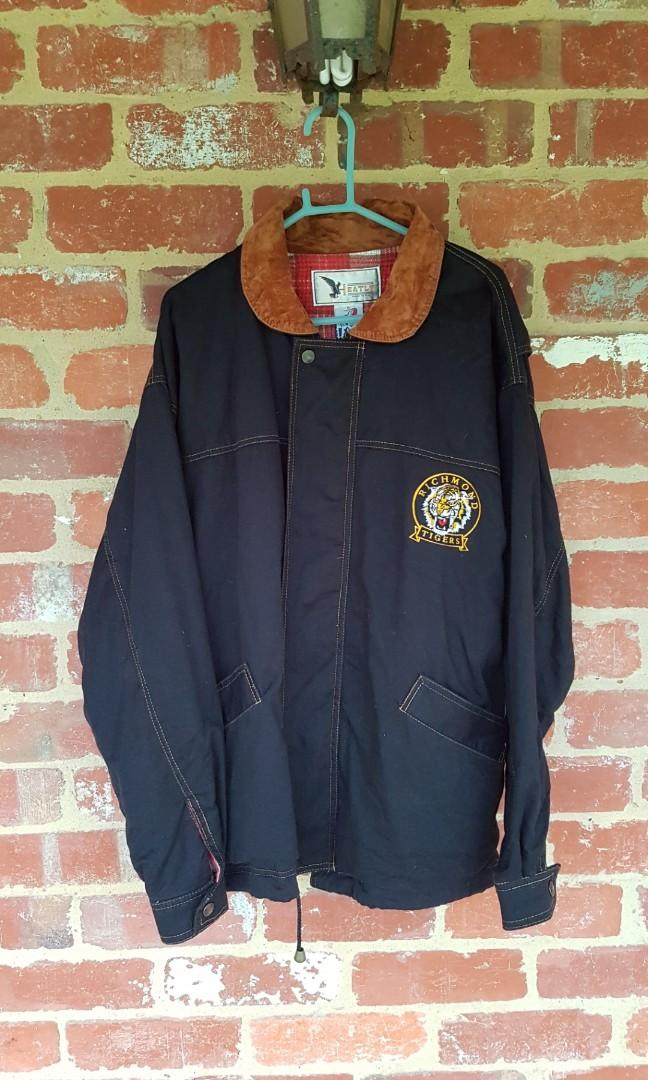 Vintage AFL Richmond Tigers Jacket Black & Brown Cotton S