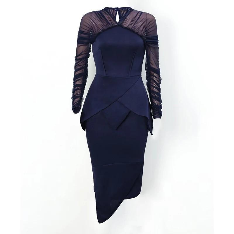 Women Elegant Mesh Sleeve Peplum Irregular Bodycon Dress Office Lady Workwear Sheath Patchwork Knee-Length Spring Autumn Dress