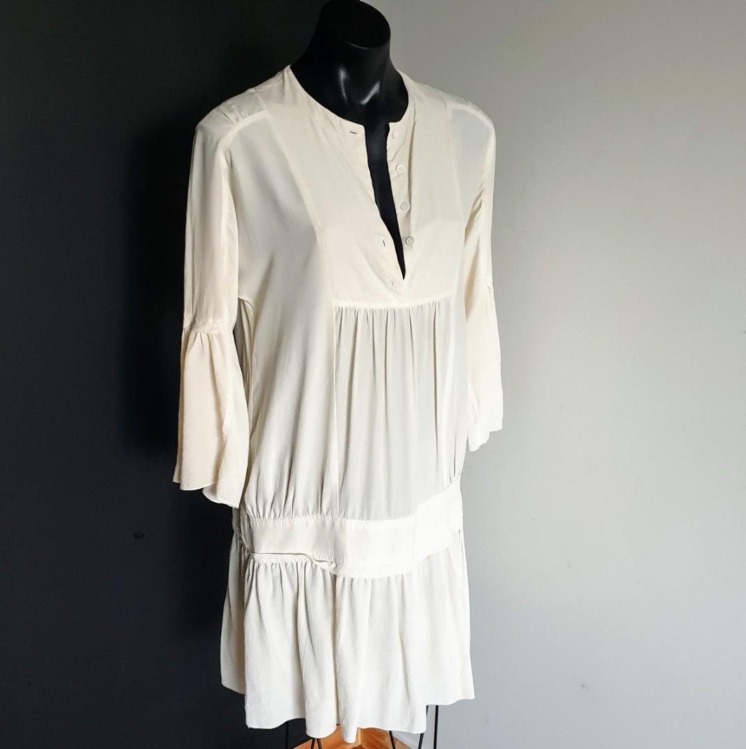 Women's size 10 'WITCHERY' Stunning ivory silk tunic dress - AS  NEW