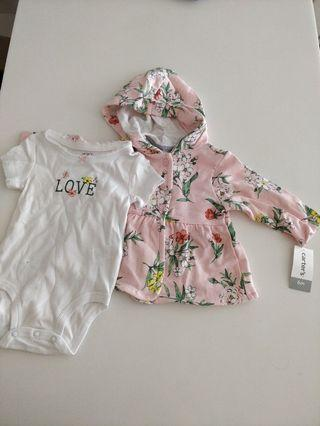 Carters baby girl sweater/cardigan romper set