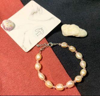 天然珍珠手鏈 手鍊 珍珠手鍊 草莓晶 淡水珍珠