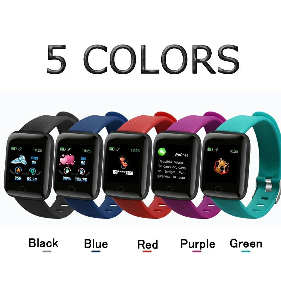 116 Plus Smart Gelang D13 Olahraga Kebugaran Gelang Smart Gelang Pengukuran Tekanan Darah Jam Tangan Pedometer Smartband Watch