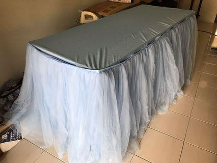 Blue color table skirting - 5'