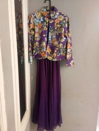 Gamis ungu + blazer flower cantik