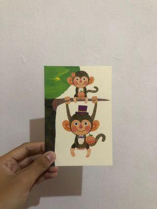 日本明信片 猴子 SEVENORANGE