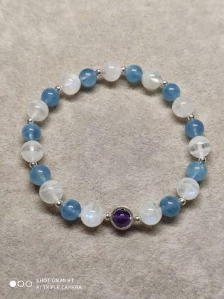 月光石海水藍寶紫水晶925銀手鍊