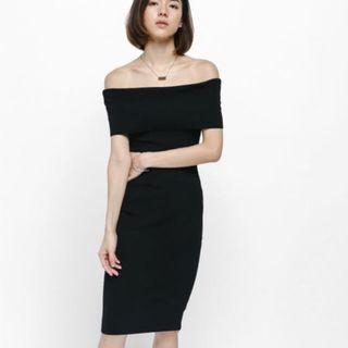 LB Taria Off Shoulder Knit Midi Dress Black