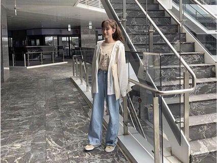 韓版淺藍顯瘦牛仔寬褲#剁手時尚