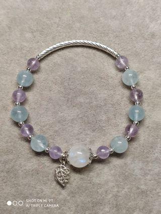 月光石海水藍寶薰衣草紫水晶925銀花托葉子手鍊