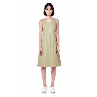 Dusty Green Fitting Button Dress