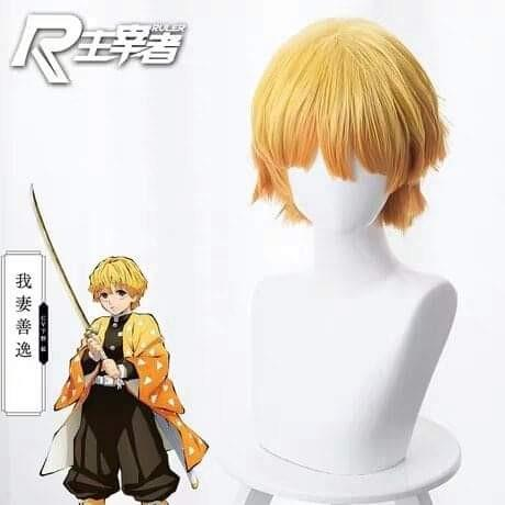⚡AGATSUMA ZENITSU COSPLAY WIG FROM KIMETSU NO YAIBA ANIME COSPLAY MEN FASHION⚡