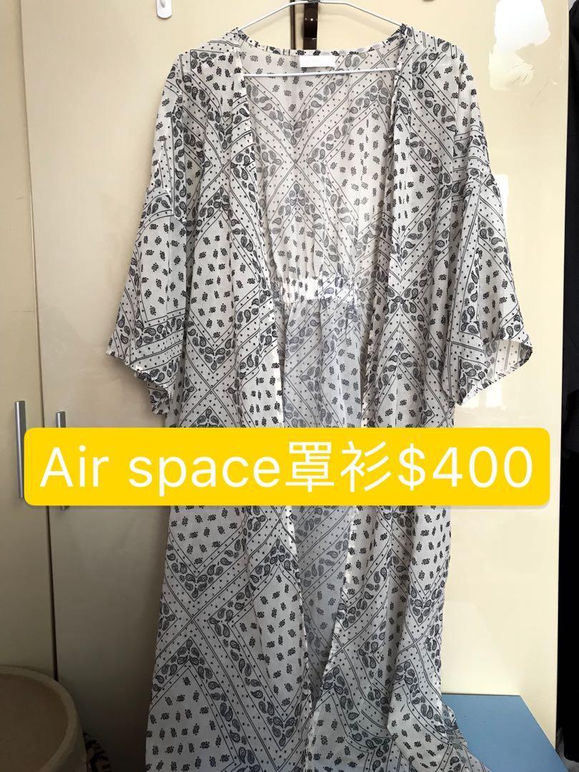 【二手】Air space無釦開衩印花長版罩衫 淺色S