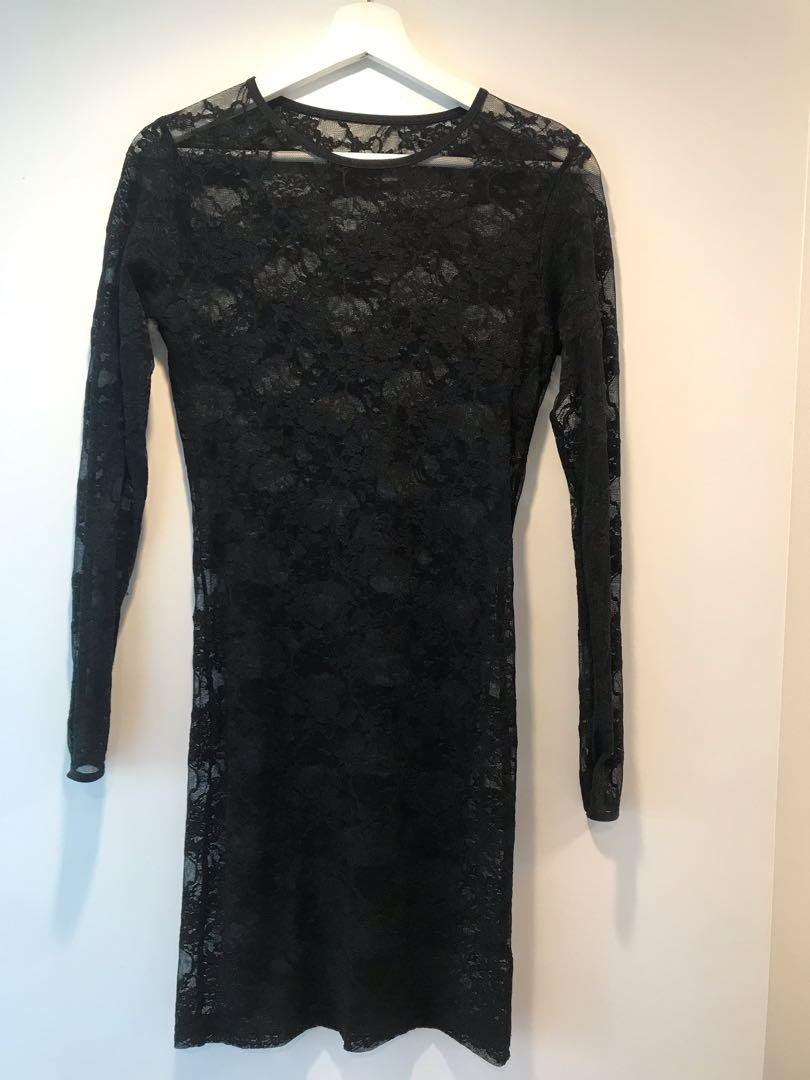 American Apparel Black Lace Longsleeve Dress Size Small