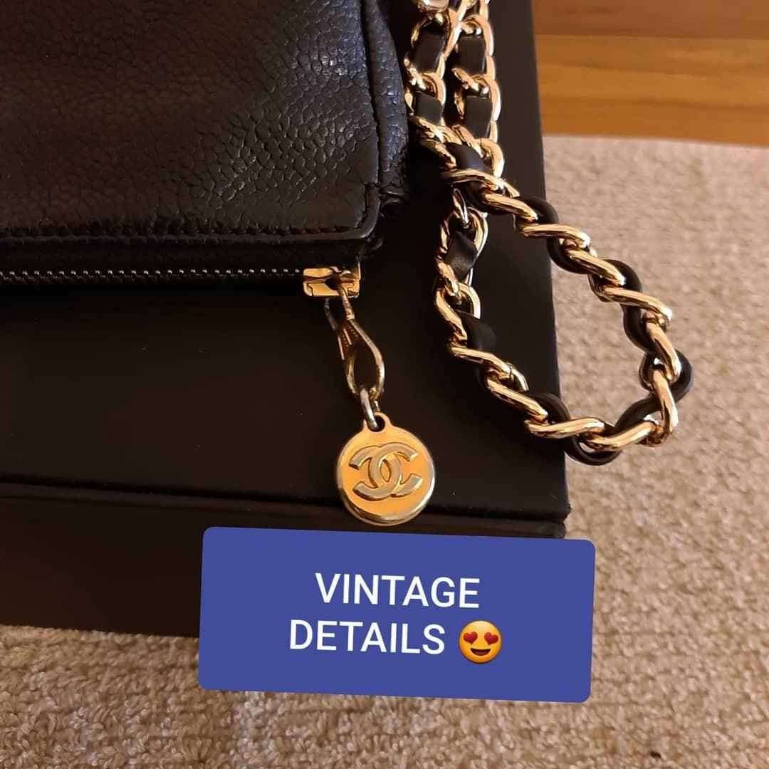 AUTHENTIC CHANEL CAVIAR LEATHER VANITY BAG - BLACK COLOUR - GOLD HARDWARE- COMES WITH EXTRA HOOKS & LONG CHAIN STRAP FOR CROSSBODY SLING - CLASSIC LARGE CC LOGO - HOLOGRAM STICKER & DATE OF PURCHASE STICKER INTACT  -